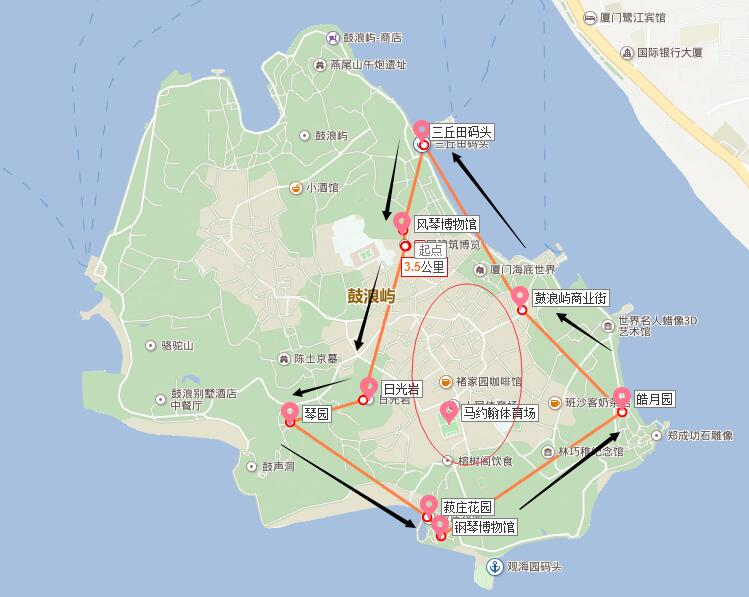 鼓浪屿步行路线图 最佳行走路线图